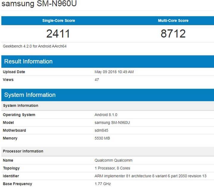 Galaxy Note 9'un Geekbench sonuçları ortaya çıktı