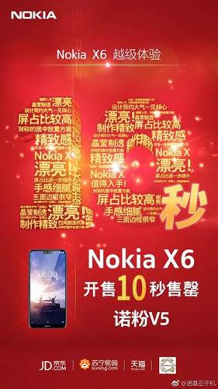 Nokia X6 stokları satışa çıktıktan 10 saniye içinde tükendi