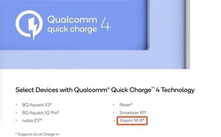 Qualcomm, Xiaomi Mi 8'in Quick Charge 4.0 desteğiyle geleceğini doğruladı