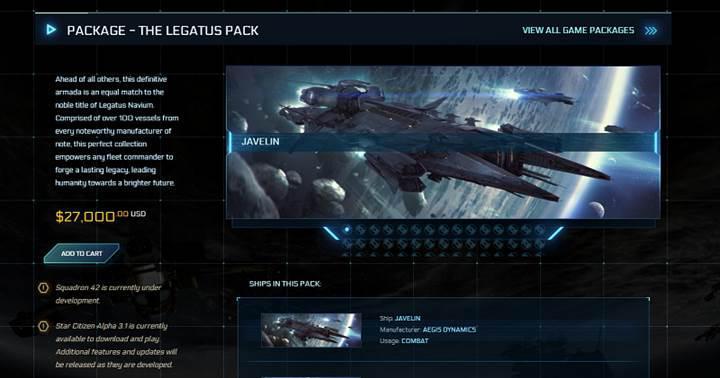 Star Citizen için 27000$ değerinde DLC paketi