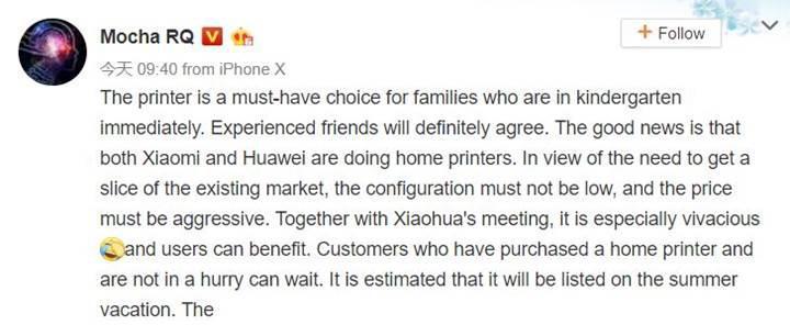 Xiaomi ve Huawei yazıcı pazarına giriyor