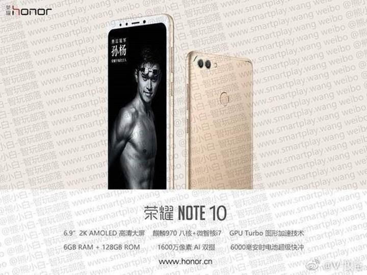 Honor Note 10 için 6000mAh batarya iddiası