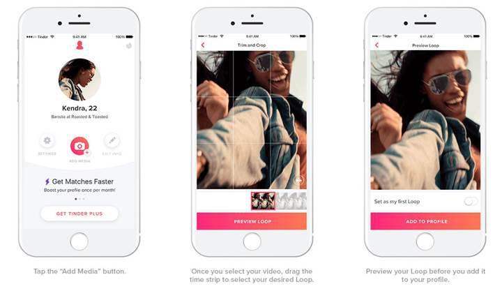Flört uygulaması Tinder'a döngüsel video özelliği geldi