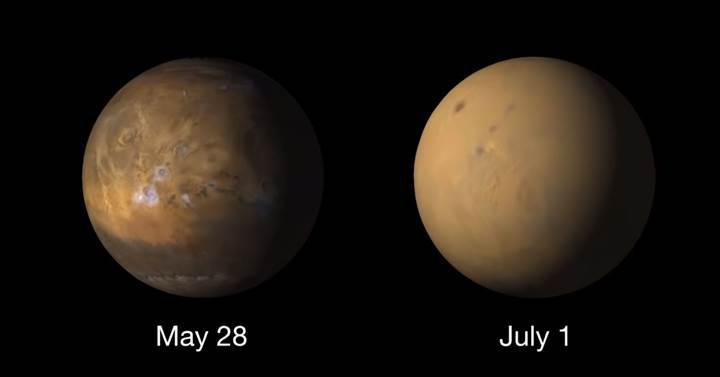 Mars'ı fırtına ele geçirdi: İşte gezegenin öncesi ve sonrası
