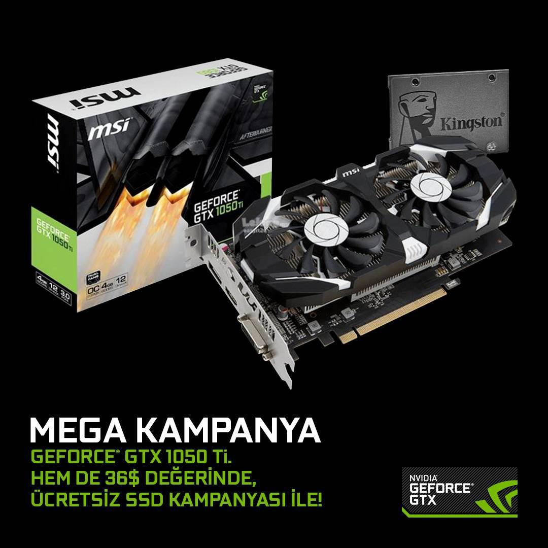 GTX 1050 Ti alana SSD hediye