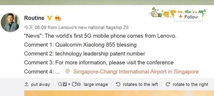 Lenovo, dünyanın ilk 5G destekli telefonunu piyasaya sürecek