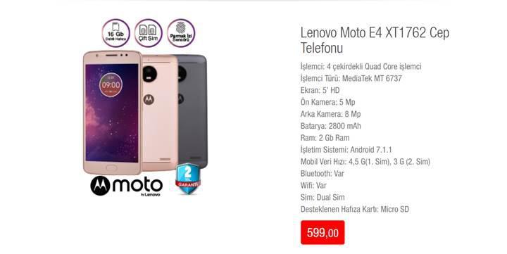 BİM uygun fiyata Lenovo Moto E4 satacak