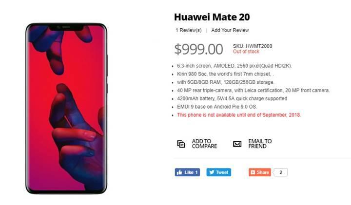 Huawei Mate 20'nin fiyatı ve özellikleri bir perakende satış sitesinde listelendi