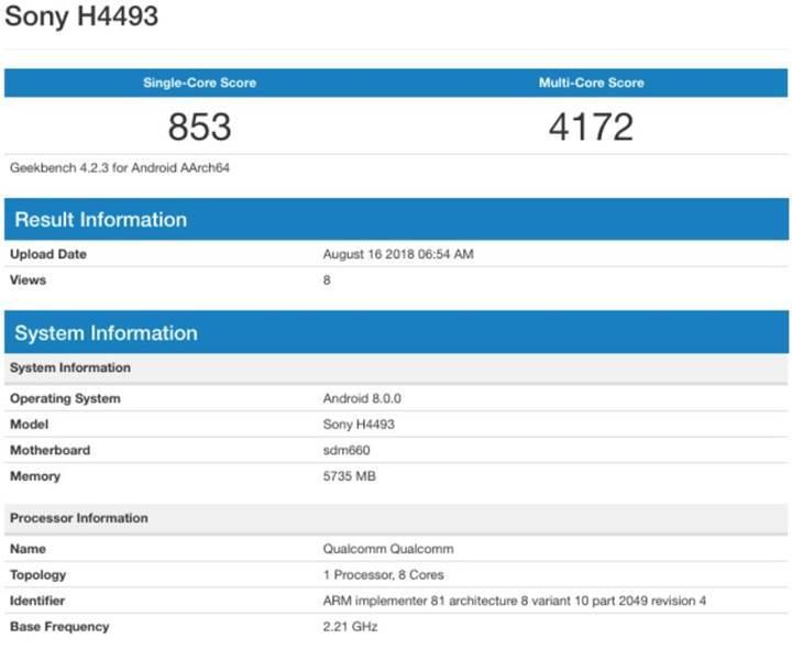Sony Xperia XA3 benchmark sonuçları görüntülendi