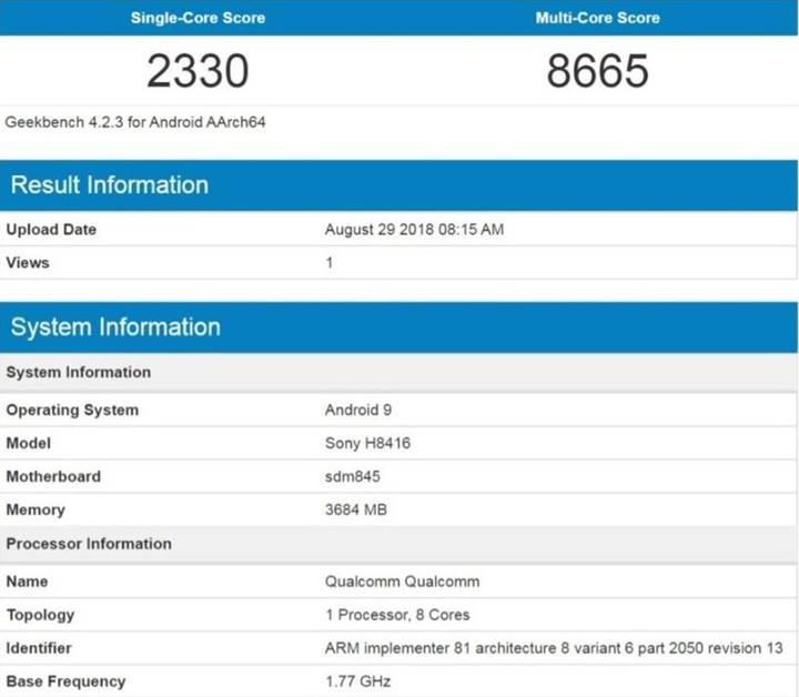 4 GB RAM'e sahip Xperia XZ3 benchmark sonuçları ortaya çıktı
