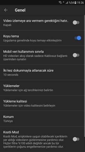 Youtube'un karanlık mod özelliği nihayet Android'e de geldi