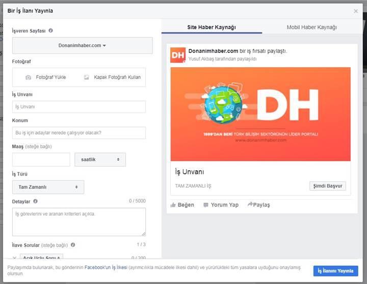 Facebook Jobs, Türkiye'de kullanıma açıldı