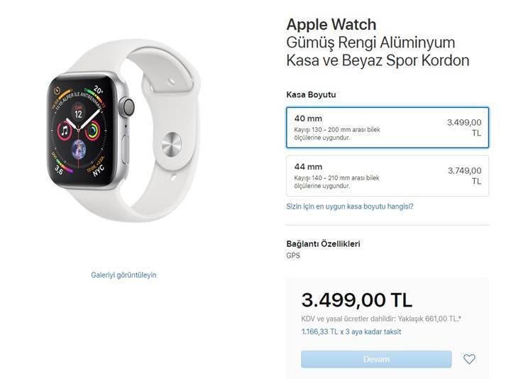 Büyük ekranlı Apple Watch Series 4 Türkiye fiyatları