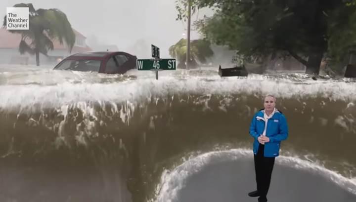 Hava durumu kanalı, Florence kasırgasını Unreal Engine oyun motoruyla gösterdi