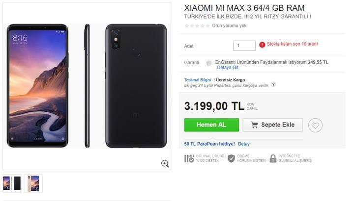 Xiaomi Mi Max 3 ülkemizde satışa sunuldu