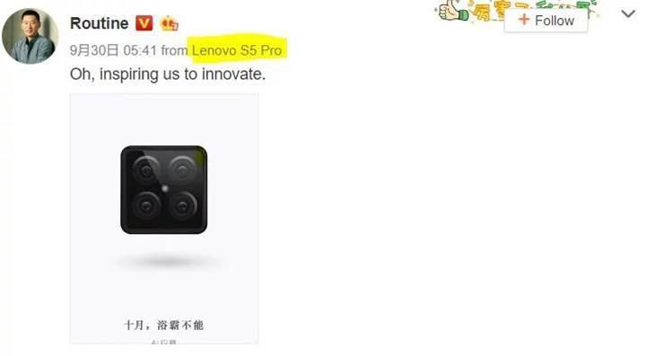 Dört arka kameralı Lenovo S5 Pro geliyor
