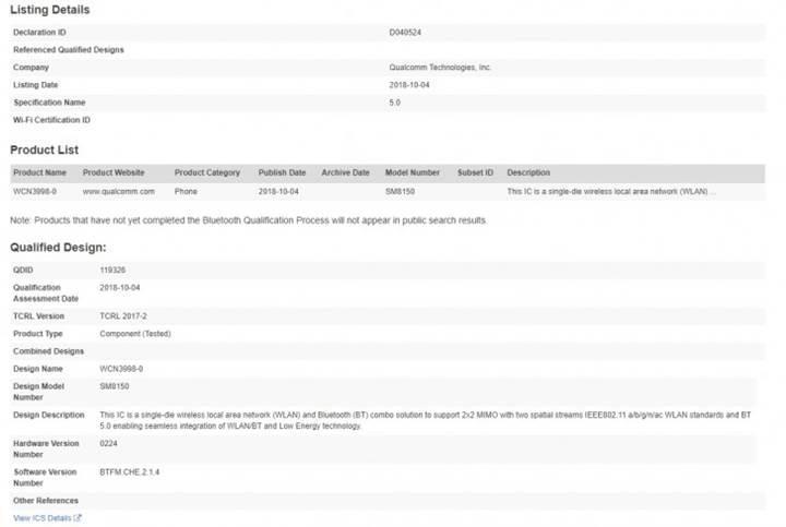 Snapdragon 8150 ismi Bluetooth sertifikasında ortaya çıktı