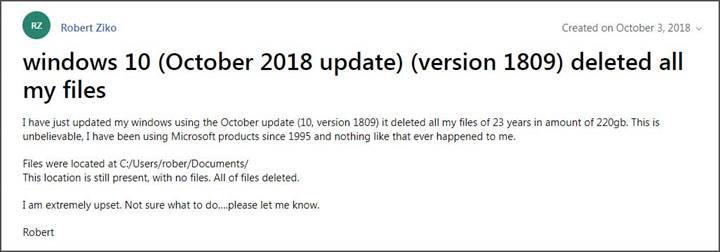 Windows 10 Ekim 2018 güncellemesinin dosyaları sildiği ortaya çıktı