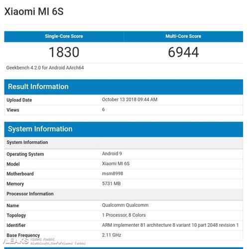 Xiaomi Mi 6S Geekbench'de görüntülendi