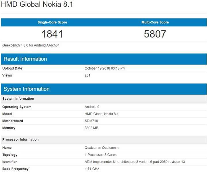 Nokia 8.1 özellikleri Geekbench sonuçları ile ortaya çıktı
