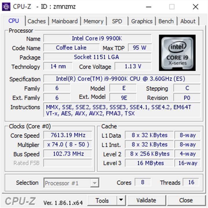 Intel Core i9-9900K 7.6 GHz'e aşırtıldı
