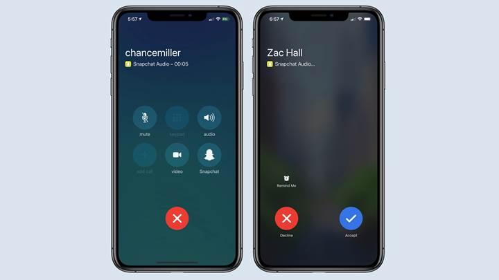 Snapchat stok iPhone arama ekranına entegre oldu