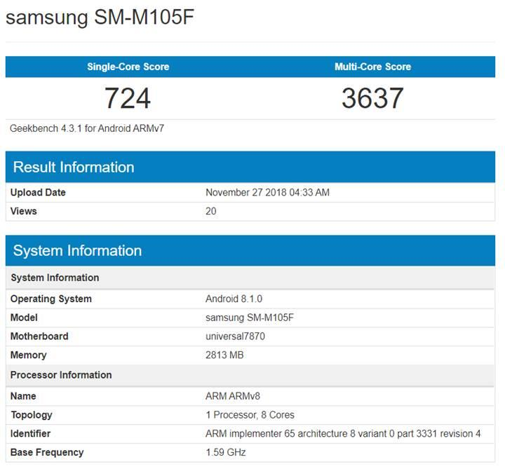 Samsung Galaxy M10, Exynos 7870 işlemci ile Geekbench üzerinde görüldü