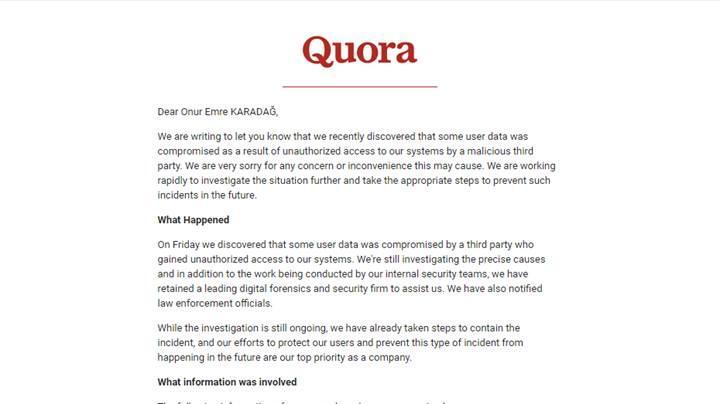 Quora 100 milyon kullanıcının bilgilerini sızdırdı