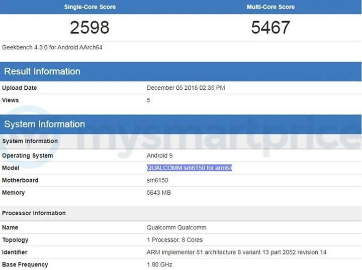 Qualcomm'un yeni yonga seti Snapdragon SM6150 ortaya çıktı