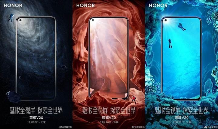 Honor View 20'in resmi posterleri telefonun ön tasarımını ortaya çıkardı