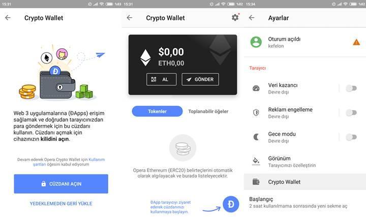 Opera'nın Android tarayıcısına kripto para cüzdanı eklendi