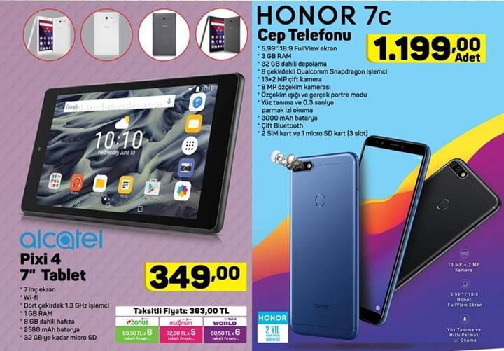Haftaya A101 marketlerde Honor 7c, BİM marketlerde LG K9 var