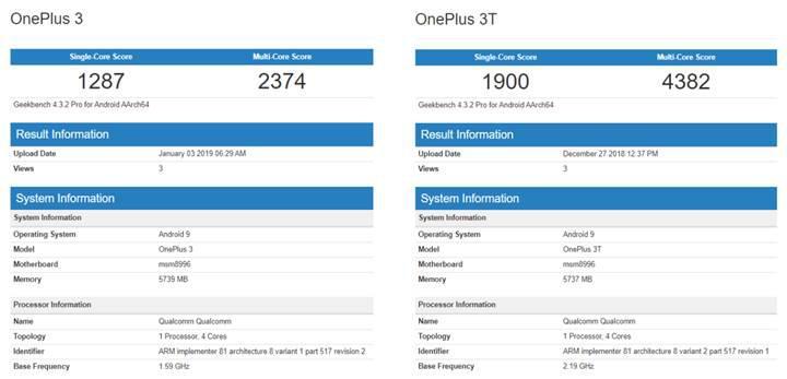 OnePlus 3 ve OnePlus 3T Android Pie güncellemesi