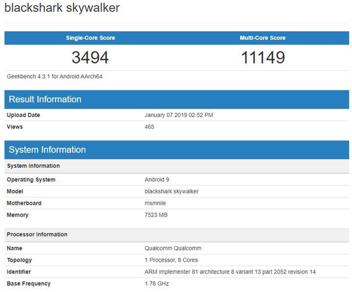 Xiaomi Black Shark Skywalker, Snapdragon 855 işlemci ile birlikte ortaya çıktı