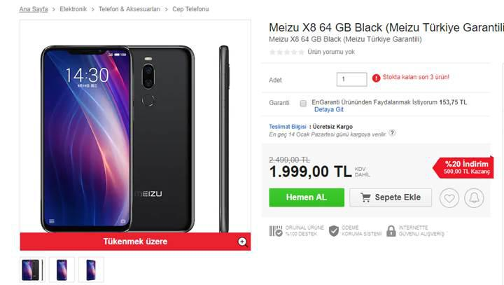 Meizu X8 ve Note 8 ülkemizde satışa sunuldu