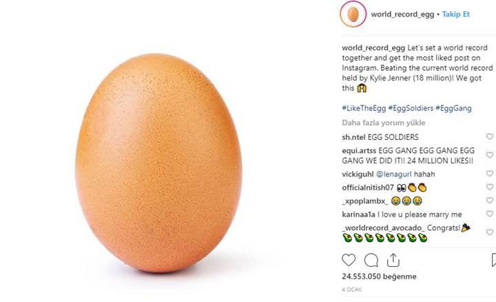 Kylie Jenner'ın Instagram beğeni rekoru bir yumurta tarafından kırıldı