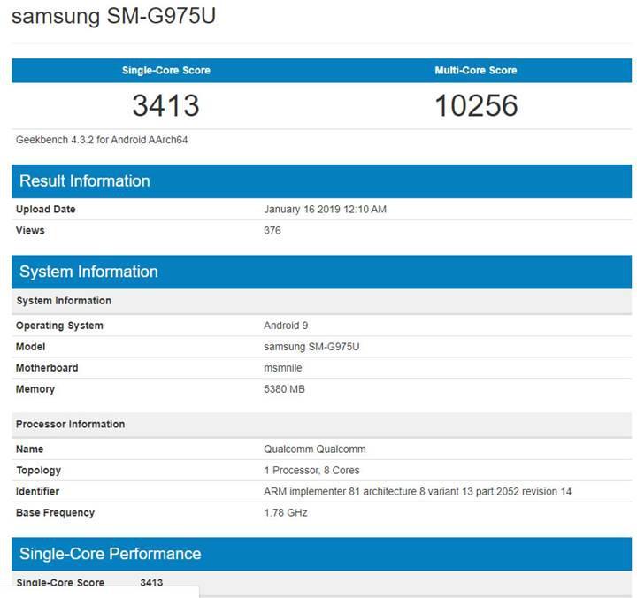 Samsung Galaxy S10 Plus'ın Geekbench test puanları ortaya çıktı