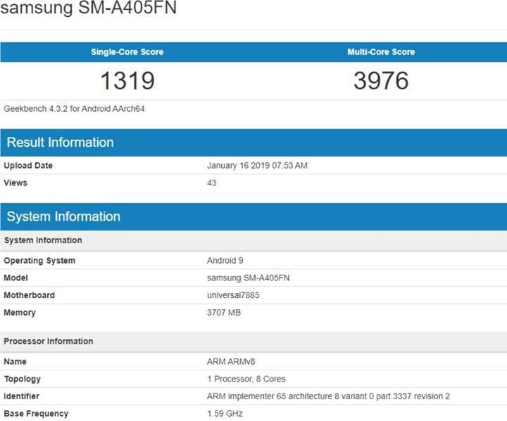 Samsung Galaxy A40 detaylanıyor
