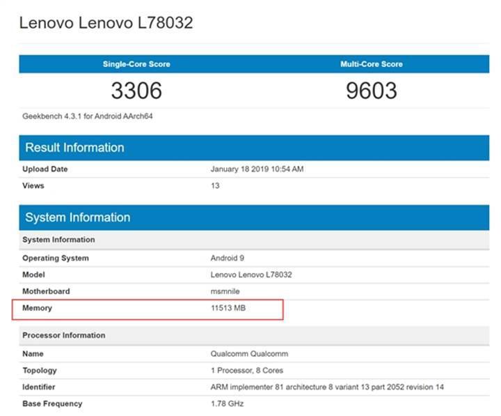 12 GB RAM'li Lenovo Z5 Pro GT Geekbench'te görüntülendi