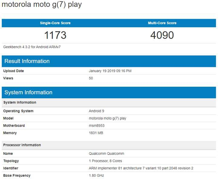 Moto G7 Play, Snapdragon 625 işlemci ile birlikte Geekbench üzerinde görüldü