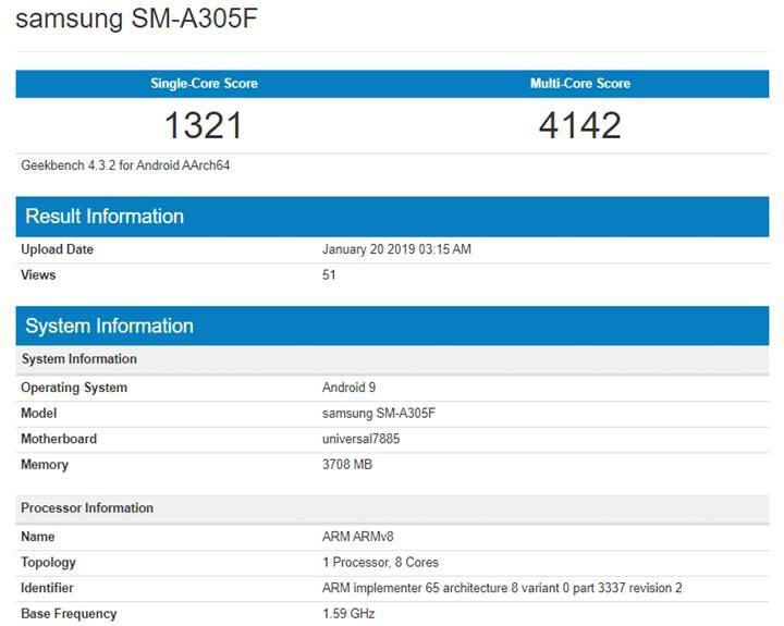 Samsung Galaxy A30 Geekbench üzerinde görüldü