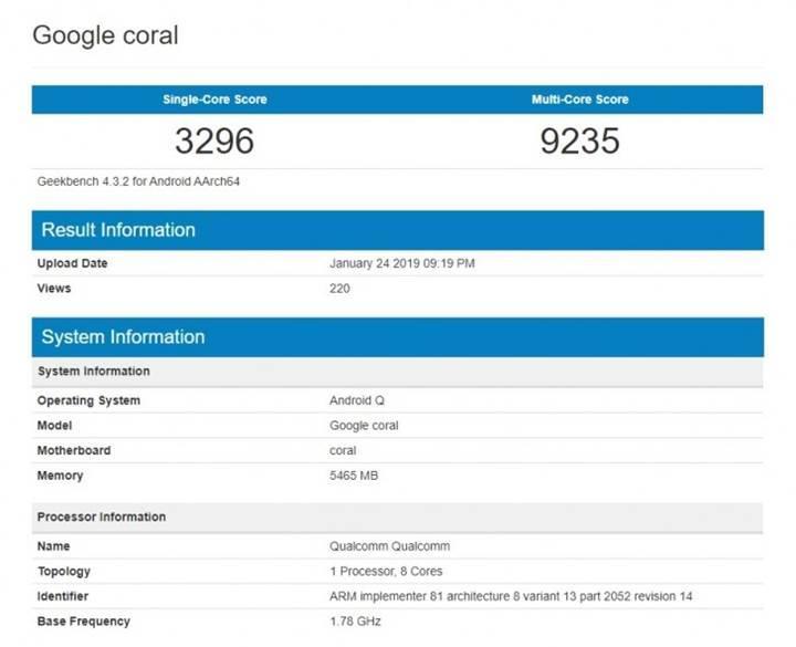 Google'ın 'Coral' adlı gizemli cihazının Geekbench puanı ortaya çıktı