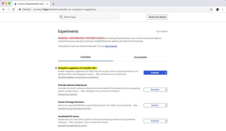 Chrome tarayıcısı yakın gelecekte benzer site adreslerini tespit edecek