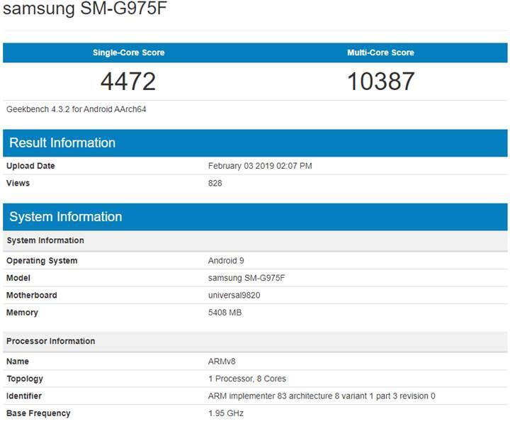 Exynos'lu Samsung Galaxy S10 Plus, Geekbech skoru