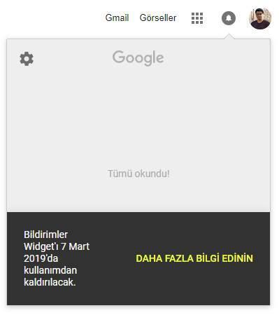 Google, bildirimler bölümünü kaldırıyor