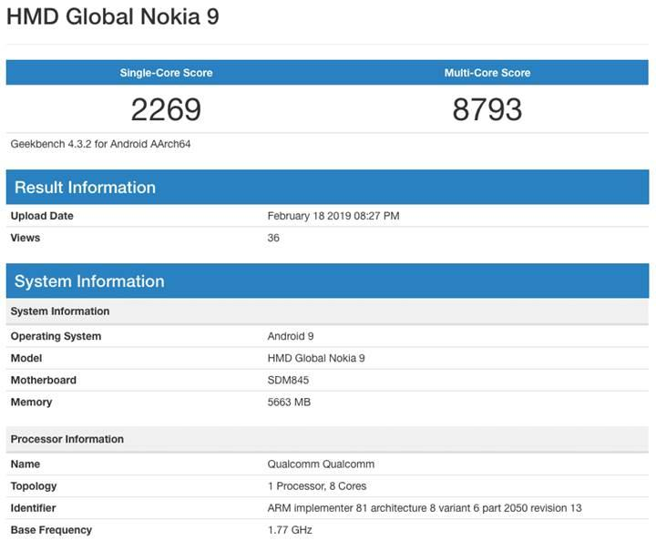 Beş arka kameralı Nokia 9 PureView bu kez Geekbench'te ortaya çıktı