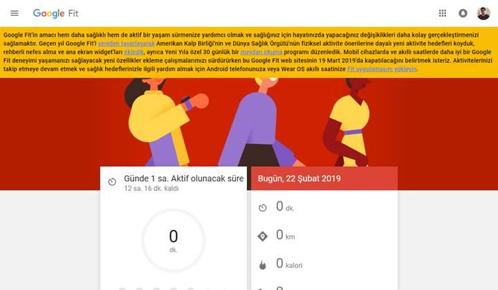 Google Fit web sürümü kapanıyor