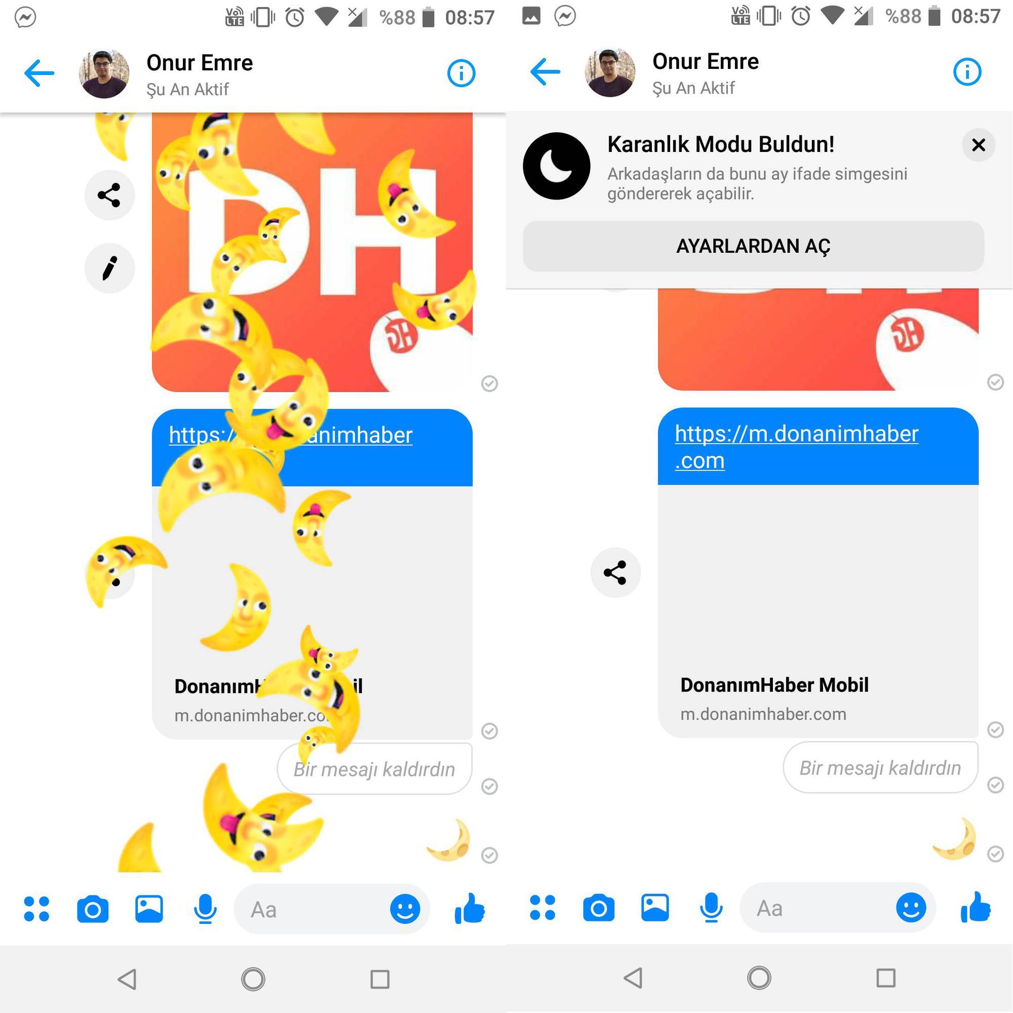 Facebook Messenger'ın karanlık modu emoji ile açılabiliyor