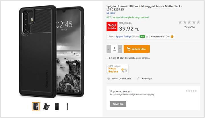 Huawei P30 Pro'nun kılıfı Türkiye'de satışta