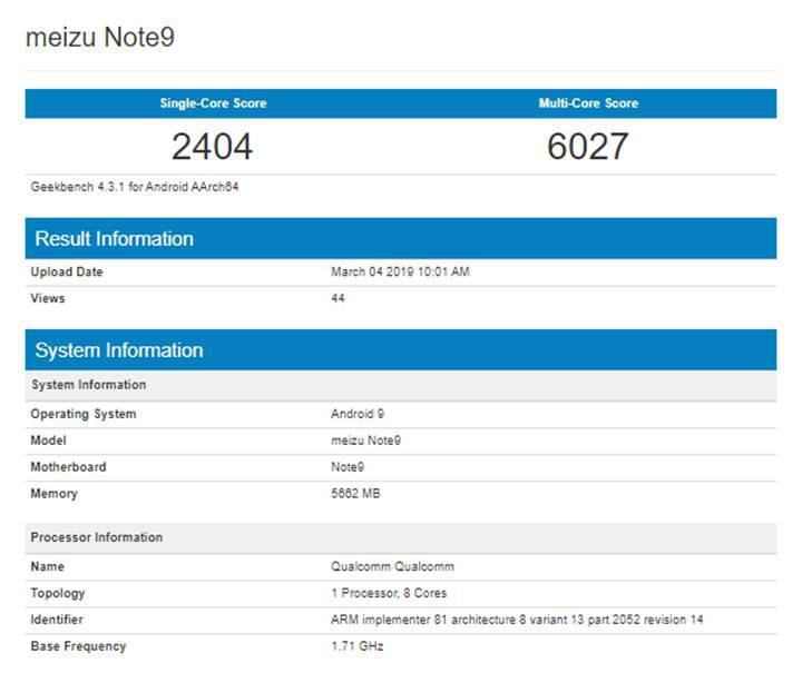 Meizu Note 9'un fiyatı ve Geekbench testi